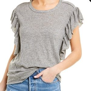 Splendid Womens Slub Ruffled T-Shirt
